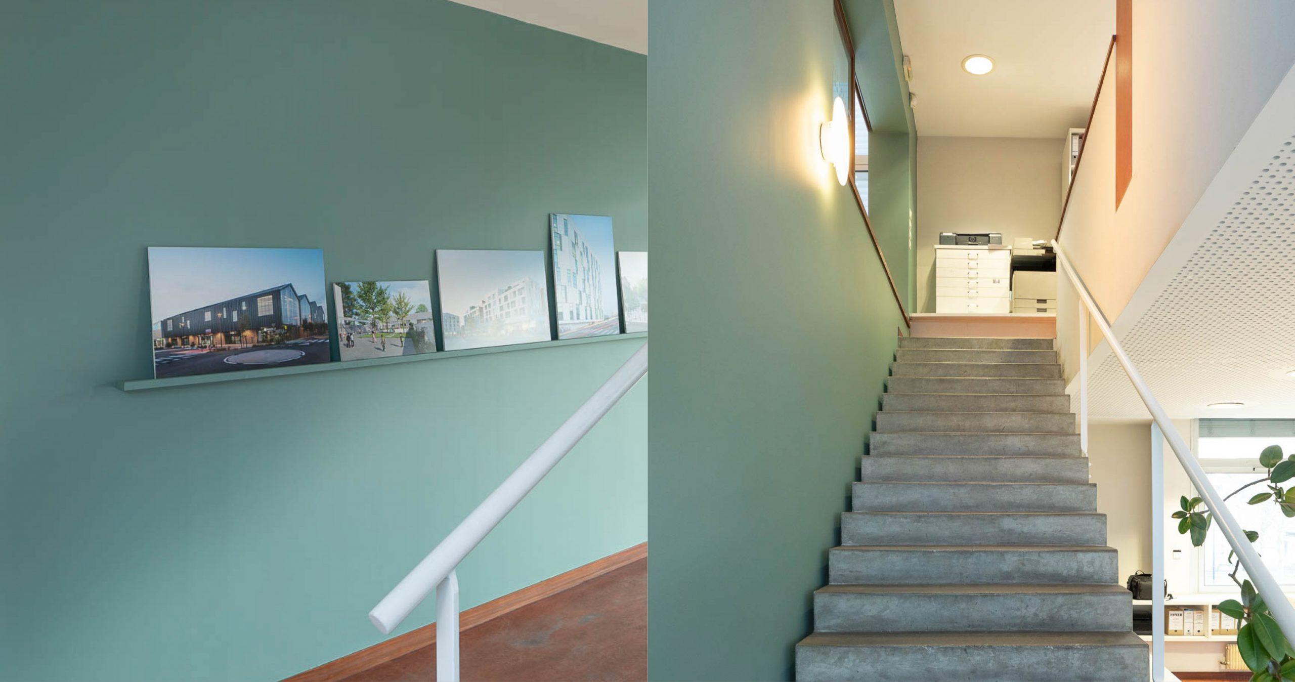 Bureaux de travail avec escalier