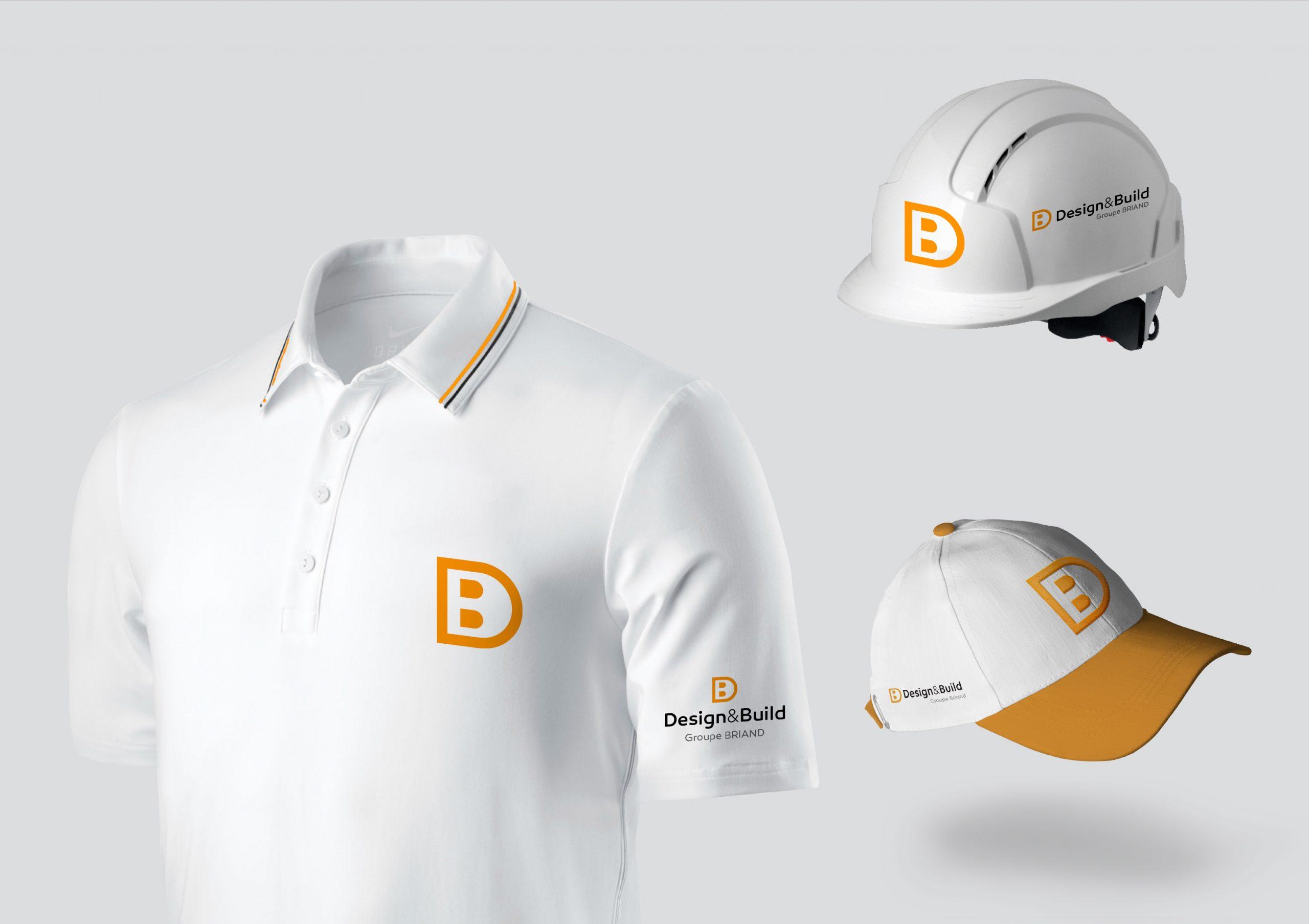 Déclinaisons logo Design & Build sur t-shirt et casque