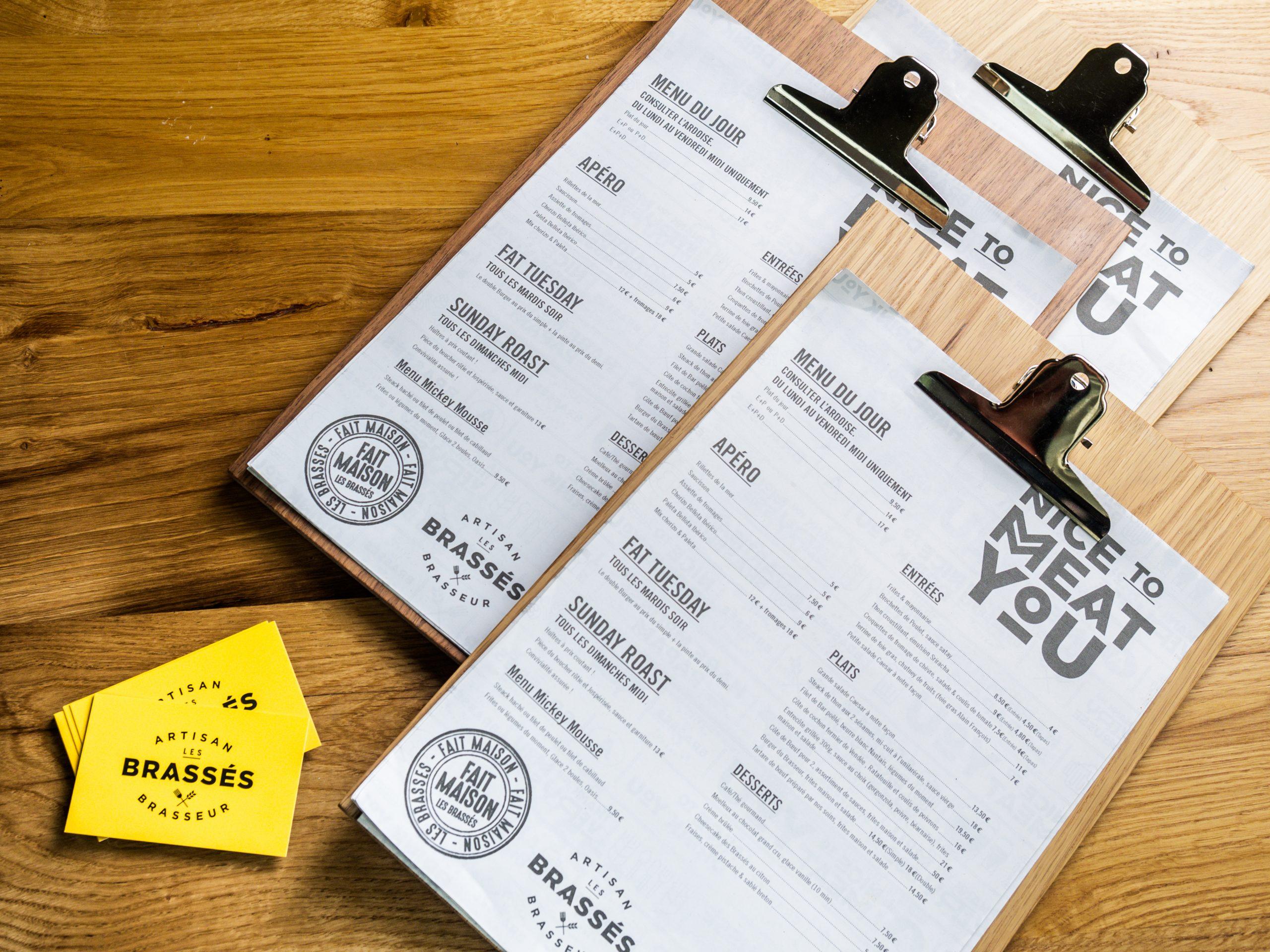 Carte de la brasserie Les Brassés